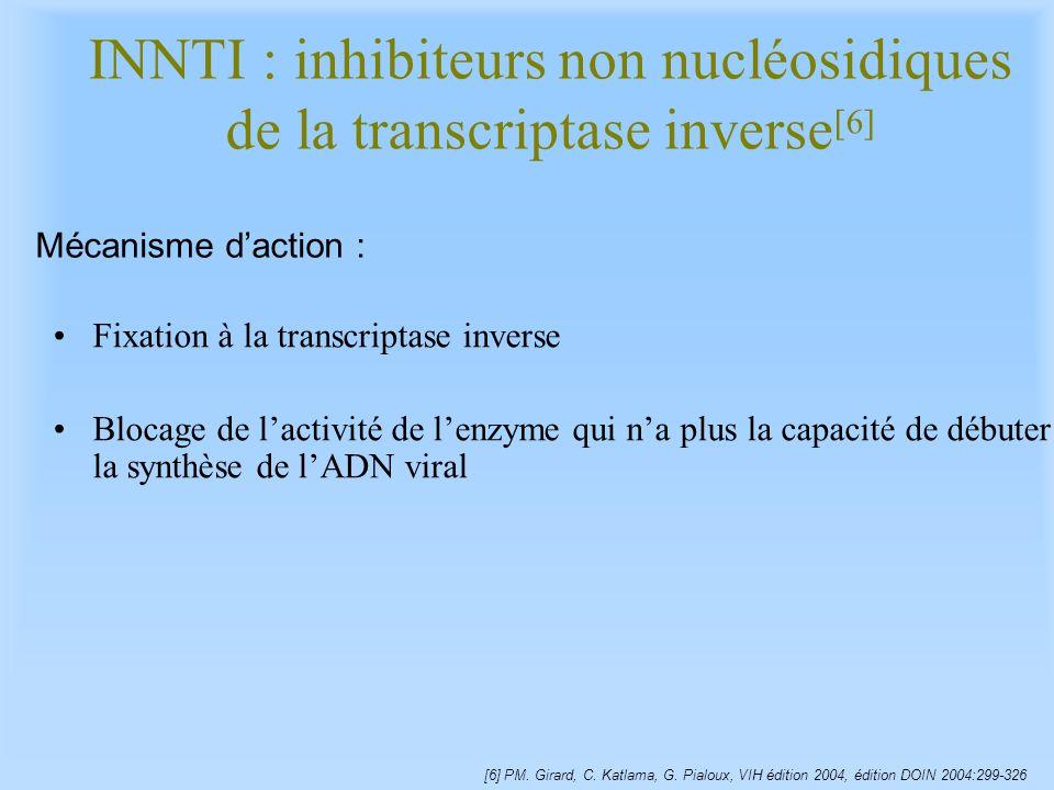 INNTI : inhibiteurs non nucléosidiques de la transcriptase inverse[6]